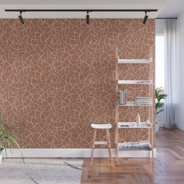 Creamy Off White SW7012 Abstract Crescent Shape Pattern on Cavern Clay SW 7701 Wall Mural