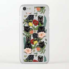 Botanical and Black Cats Clear iPhone Case