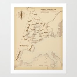 Vintage Style shipping forecast key Art Print