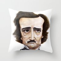 poe Throw Pillows featuring Poe by Vito Quintans