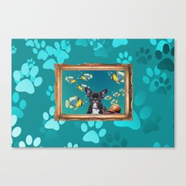 French Bulldog in Frame with fishes and snail - turquoise Canvas Print