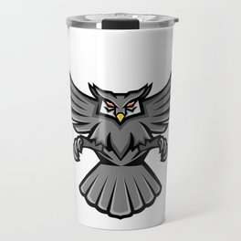 Horned Owl Swooping Front Mascot Travel Mug