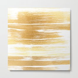 Abstract faux gold white modern paint brushstrokes Metal Print