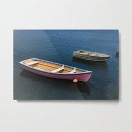 Pink Boat in Sea Metal Print