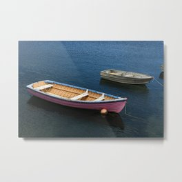 Pink Boat in Sea Metal Print