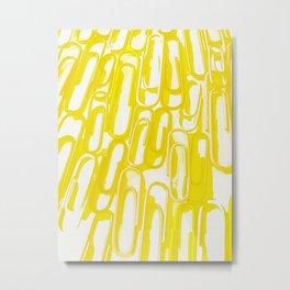 yellow paperclip Metal Print