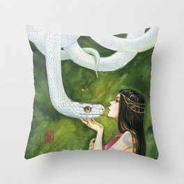 The White Snake Throw Pillow