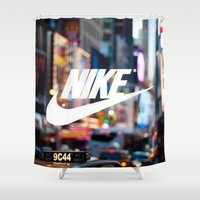 nike Shower Curtains featuring Nike by Pink Berry Patterns