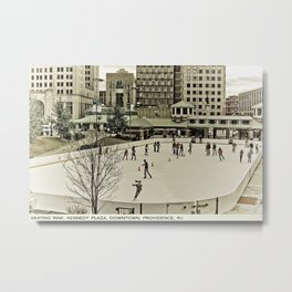 Providence Postcard Project: Skating Rink, Kennedy Plaza, Downtown Metal Print