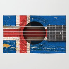 Old Vintage Acoustic Guitar with Icelandic Flag Rug
