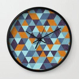 Triangle pattern orange & blue Wall Clock