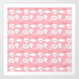 Pink Adorable Halloween Pattern Art Print