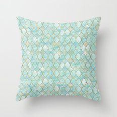 Luxury Aqua and Gold oriental pattern Throw Pillow