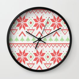 Knitted Christmas retro pattern Wall Clock
