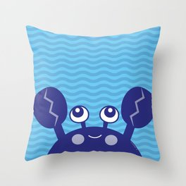 Blue Crabby Crab Throw Pillow