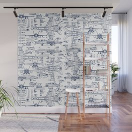 F-18 Blueprints // Blue Ink Wall Mural