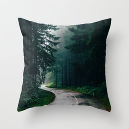 Eerie Dark Path (Color) Throw Pillow