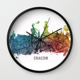 Cracow City Skyline  map #krakow #cracow Wall Clock