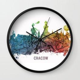 Cracow City Skyline  map #krakow #cracow Wall Clock
