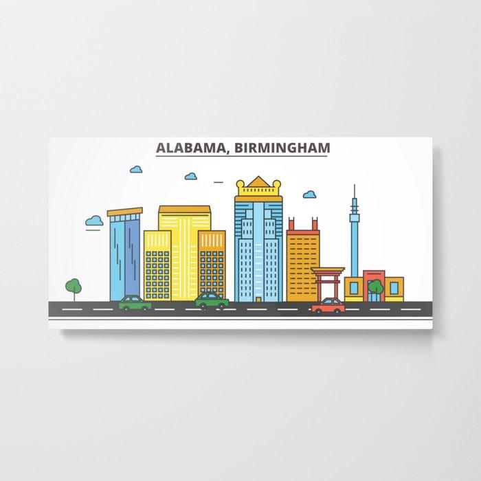 Alabama - Birmingham. Silhouette Skyline Metal Print