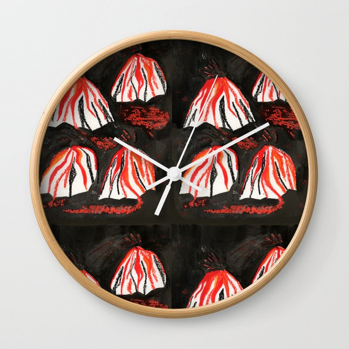 Volcanoes at Night Wall Clock
