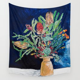 Yellow and Red Australian Wildflower Bouquet in Pottery Vase on Navy, Original Still Life Painting Wall Tapestry