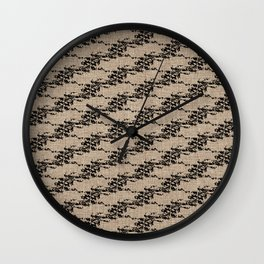 Cedar Waxwings in a Pear Tree with Nest - Rattan and Black Wall Clock