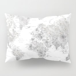 Marble world map in light grey and brown Pillow Sham