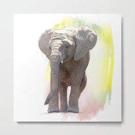 Digital Painting of Baby Elephant Metal Print