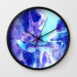 Swirling Marble in Aqua, Purple & Royal Blue Wall Clock