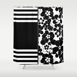 Black , white , mixed , patchwork Shower Curtain