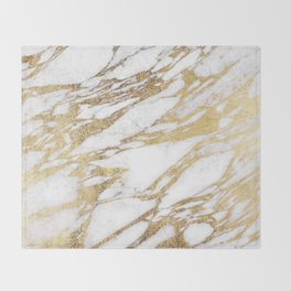 Chic Elegant White and Gold Marble Pattern Throw Blanket