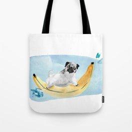 Pug on a Banana Boat Tote Bag