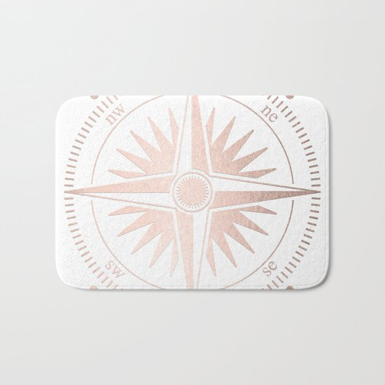 Rose Gold on White Compass Bath Mat