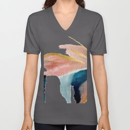 Exhale: a pretty, minimal, acrylic piece in pinks, blues, and gold Unisex V-Ausschnitt