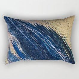 Rise: an abstract mixed-media landscape in blue pink and gold by Alyssa Hamilton Art Rectangular Pillow