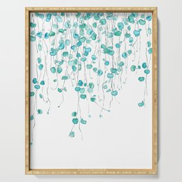 string of hearts watercolor Serving Tray