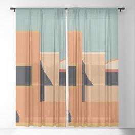 Summer Urban Landscape Sheer Curtain