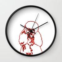 poodle Wall Clocks featuring Poodle by Mike van der Hoorn