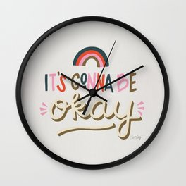 It's Gonna Be Okay – Coral & Pink Palette Wall Clock