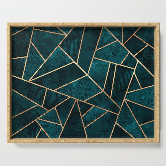 Deep Teal Stone Serving Tray