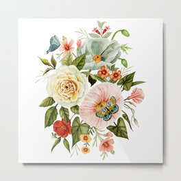 Wildflowers and Butterflies Bouquet  Metal Print