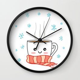 Cute smiling winter coffee with scarf and snowflakes Wall Clock