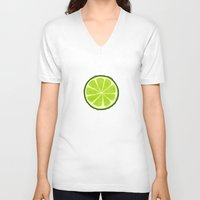 lime V-neck T-shirts featuring Lime by Linde Townsend