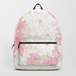 Elegant Pink & Gold Floral Watercolor Paint White Design Backpack
