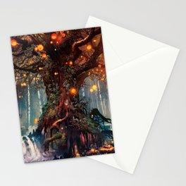 Magnificent Big Marvelous Magic Glowing Fairytale Forest Tree Light Bulbs Dreamland Ultra HD Stationery Cards