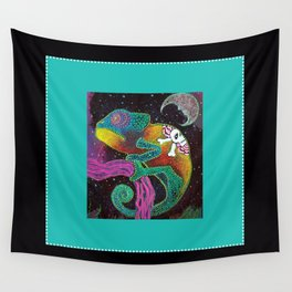 Midnight Chameleon Wall Tapestry