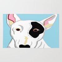 bull terrier Area & Throw Rugs featuring Bull Terrier by EloiseArt
