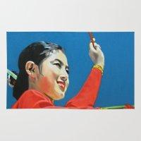 korean Area & Throw Rugs featuring Korean Drummer Girl by Robert S. Lee Art