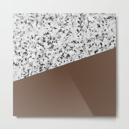 Granite with Emperador Color Metal Print